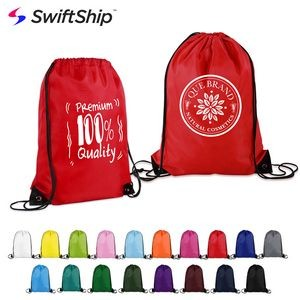 "14"" X 18"" Polyester Drawstring Backpack"